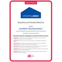 Certyfikat Chronimy Dzieci